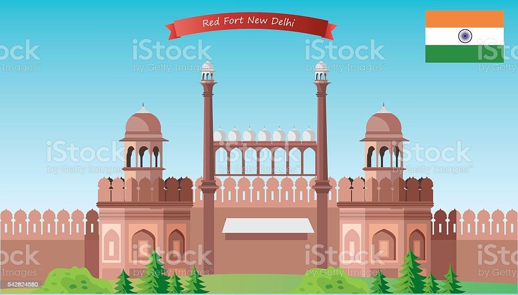 Red Fort vector art illustration
