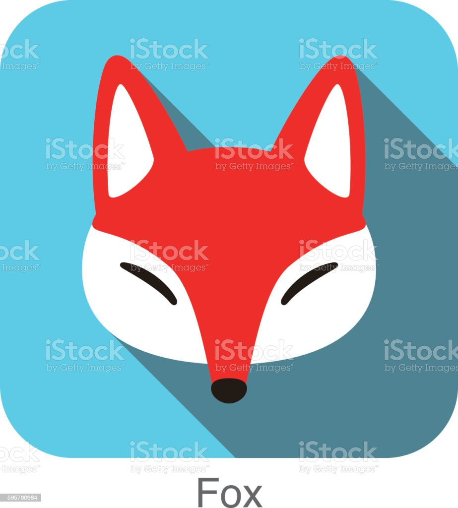 Red fox cartoon face, flat icon design vector art illustration
