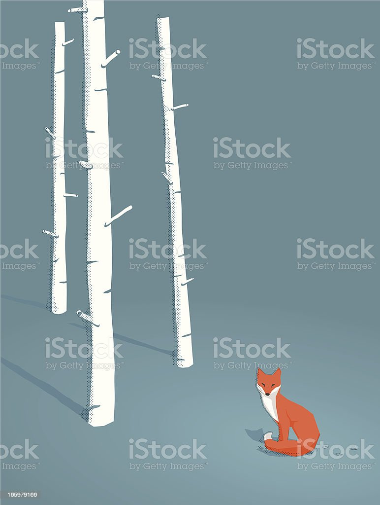 red fox in a forest vector art illustration