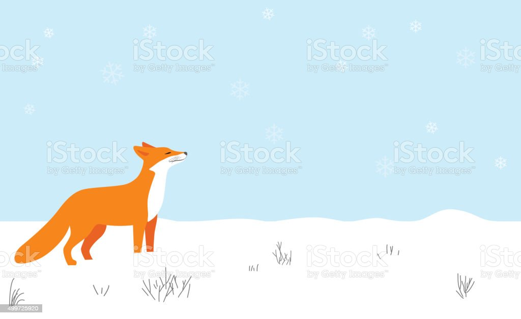 Red fox walking on the snow,smell the air vector art illustration