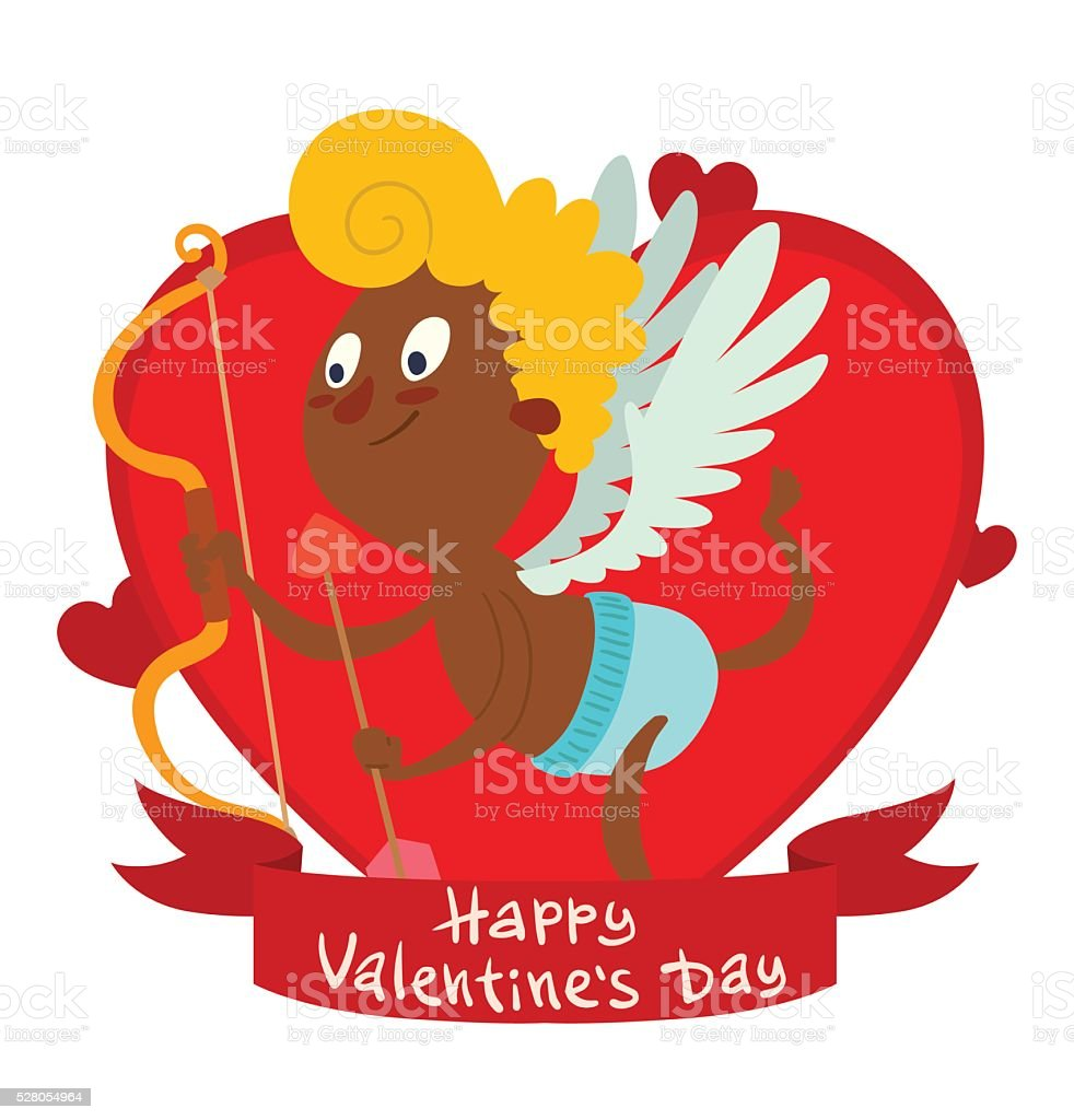 Red frame with cute little black cupid flying vector art illustration