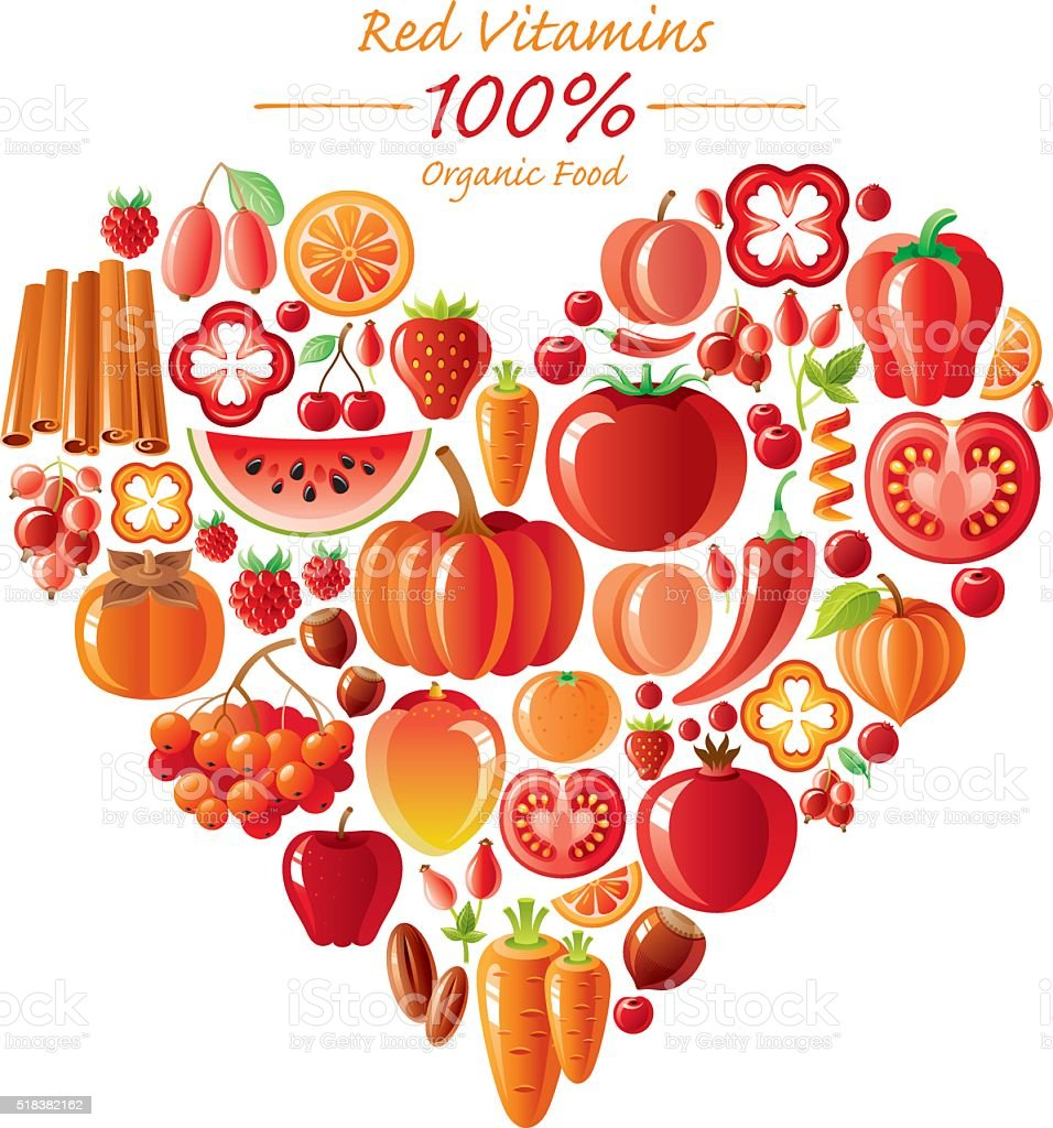 Red fruits and vegetables heart shape vector art illustration