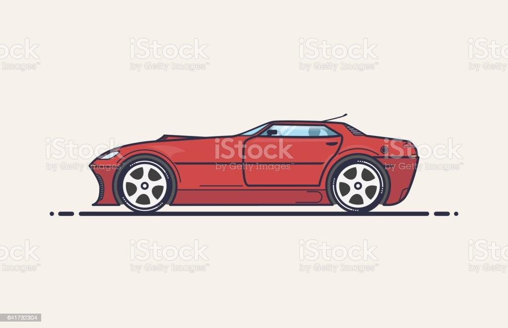 Red futuristic car vector art illustration