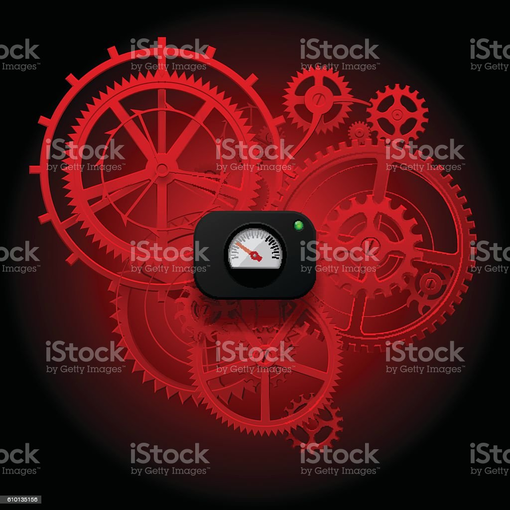 Red gear wheels of clockwork with Circular Meter on background vector art illustration