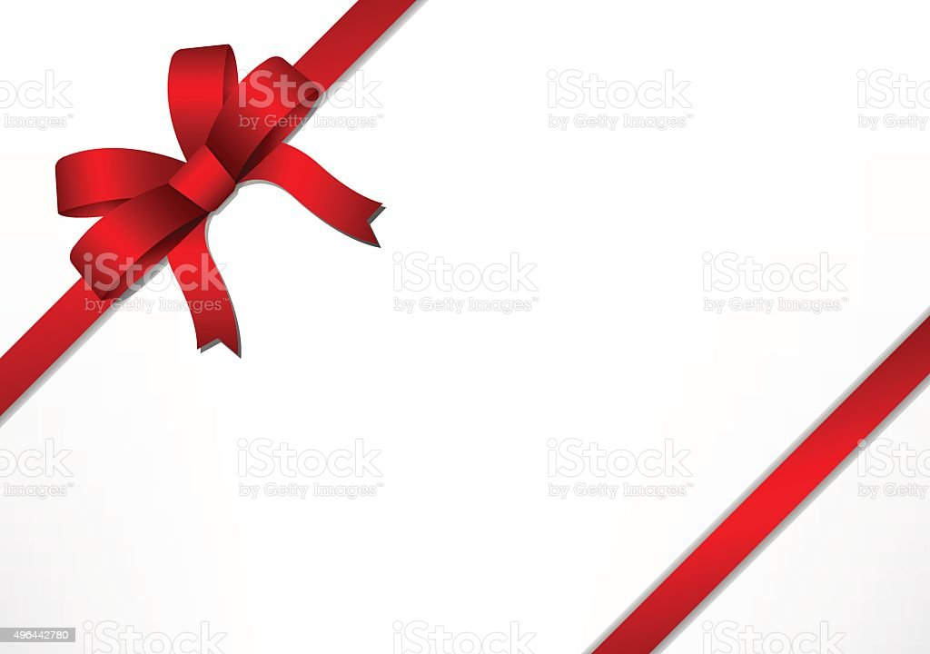 Red gift bow and ribbon vector art illustration