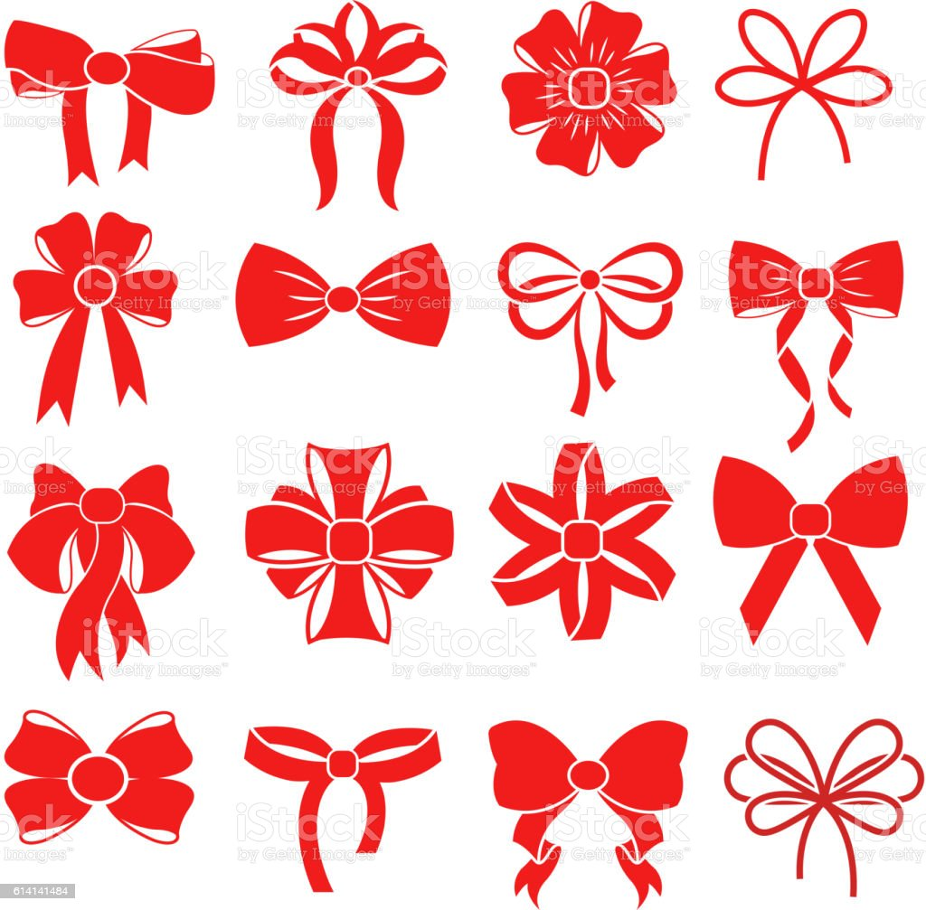 Red gift bow vector silhouettes for decoration vector art illustration