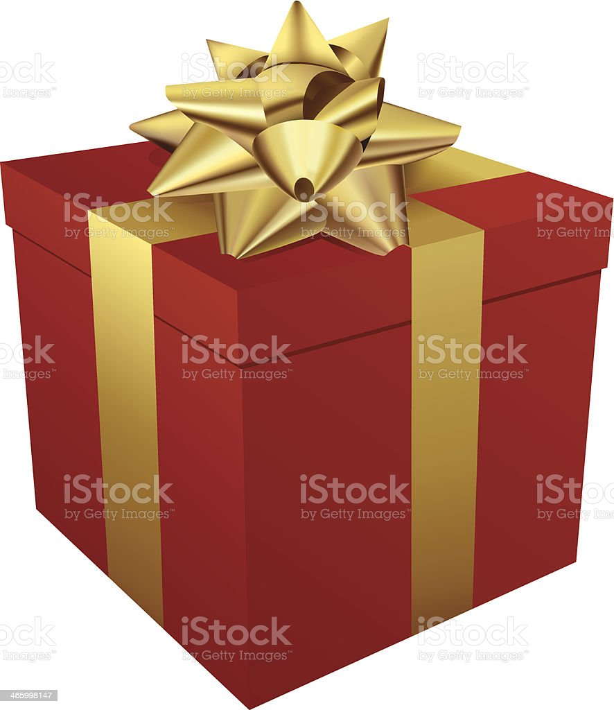 Red gift box and gold ribbon vector art illustration