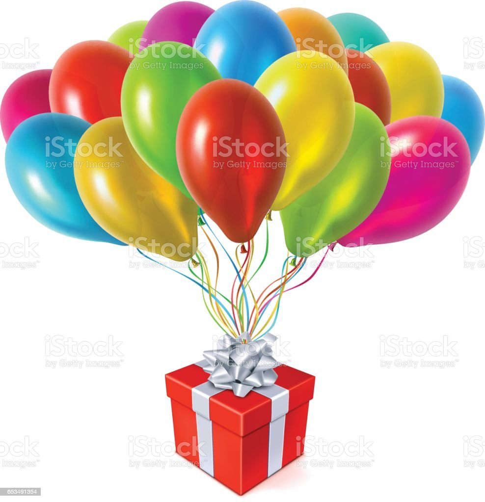 Red Gift Box with Colored Balloons vector art illustration