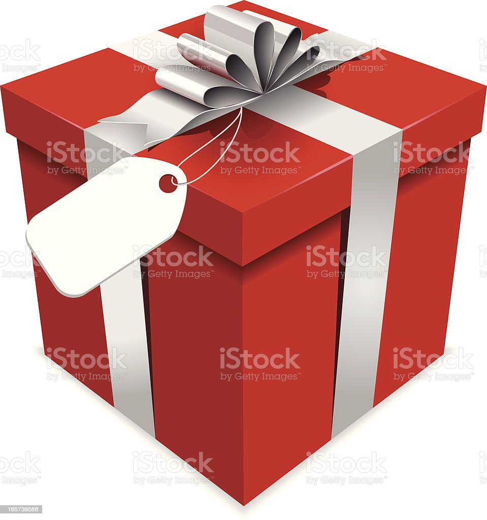 Red Gift Box with Silver Bow vector art illustration