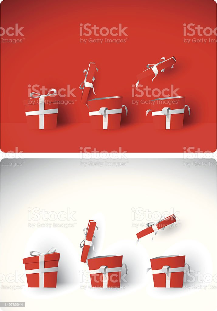 Red gift boxes on red and white backgrounds vector art illustration