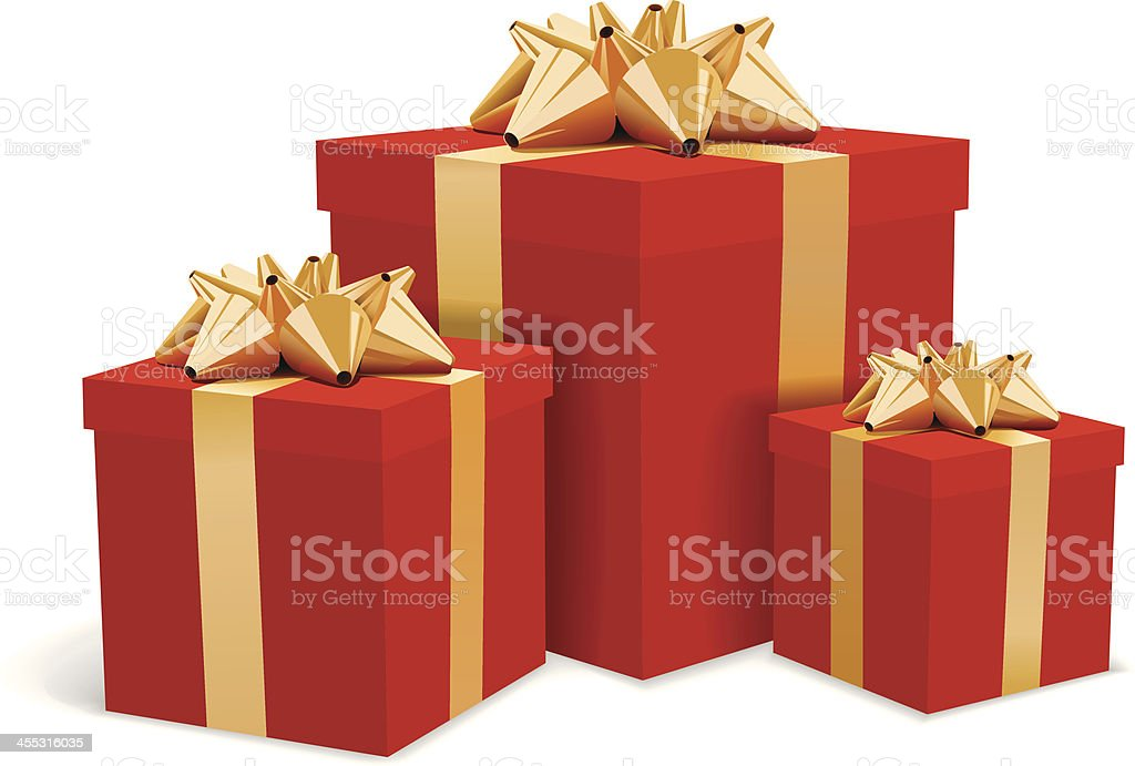 Red gift boxes with gold bows illustration vector art illustration