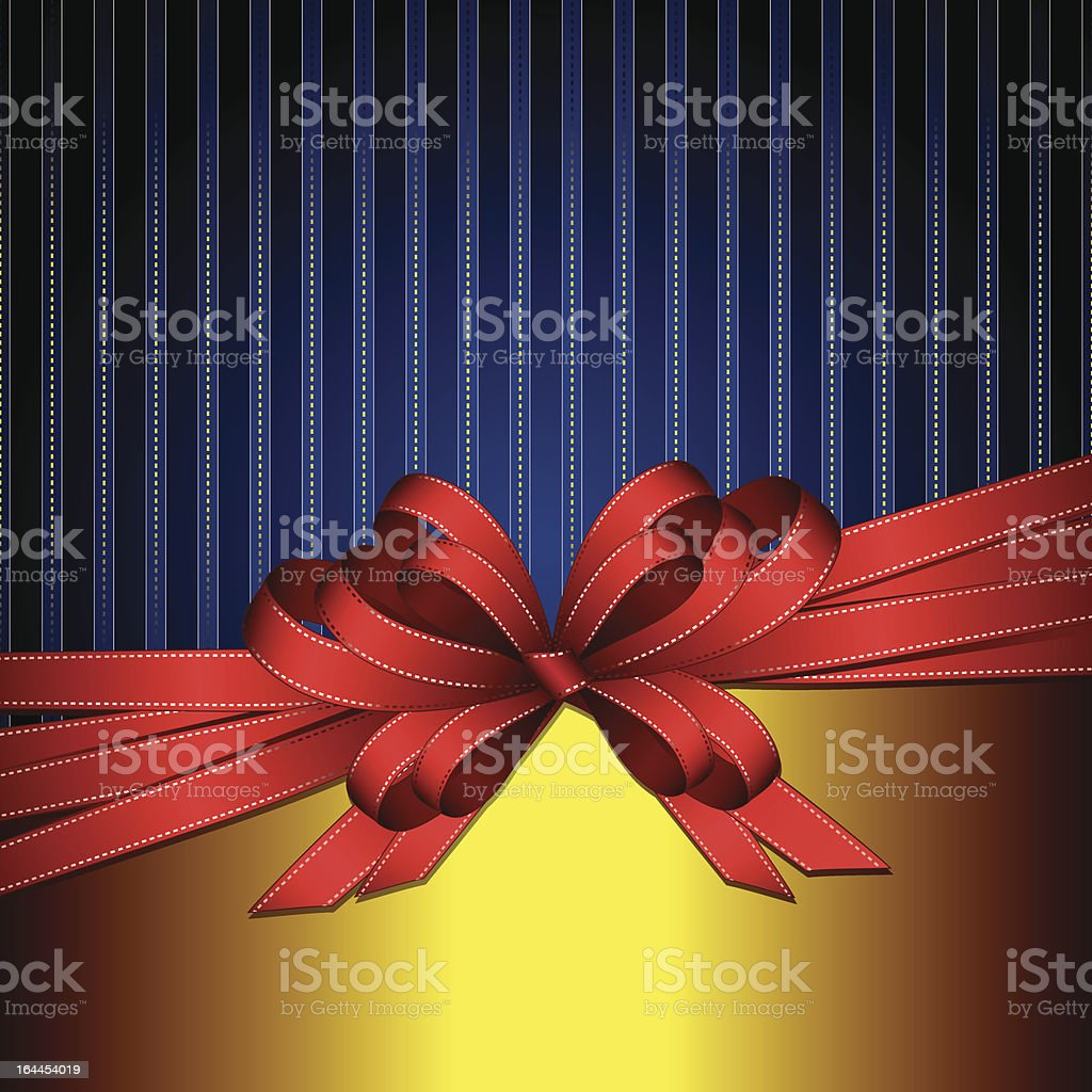 red gift ribbon bow on gold and blue background royalty-free stock vector art