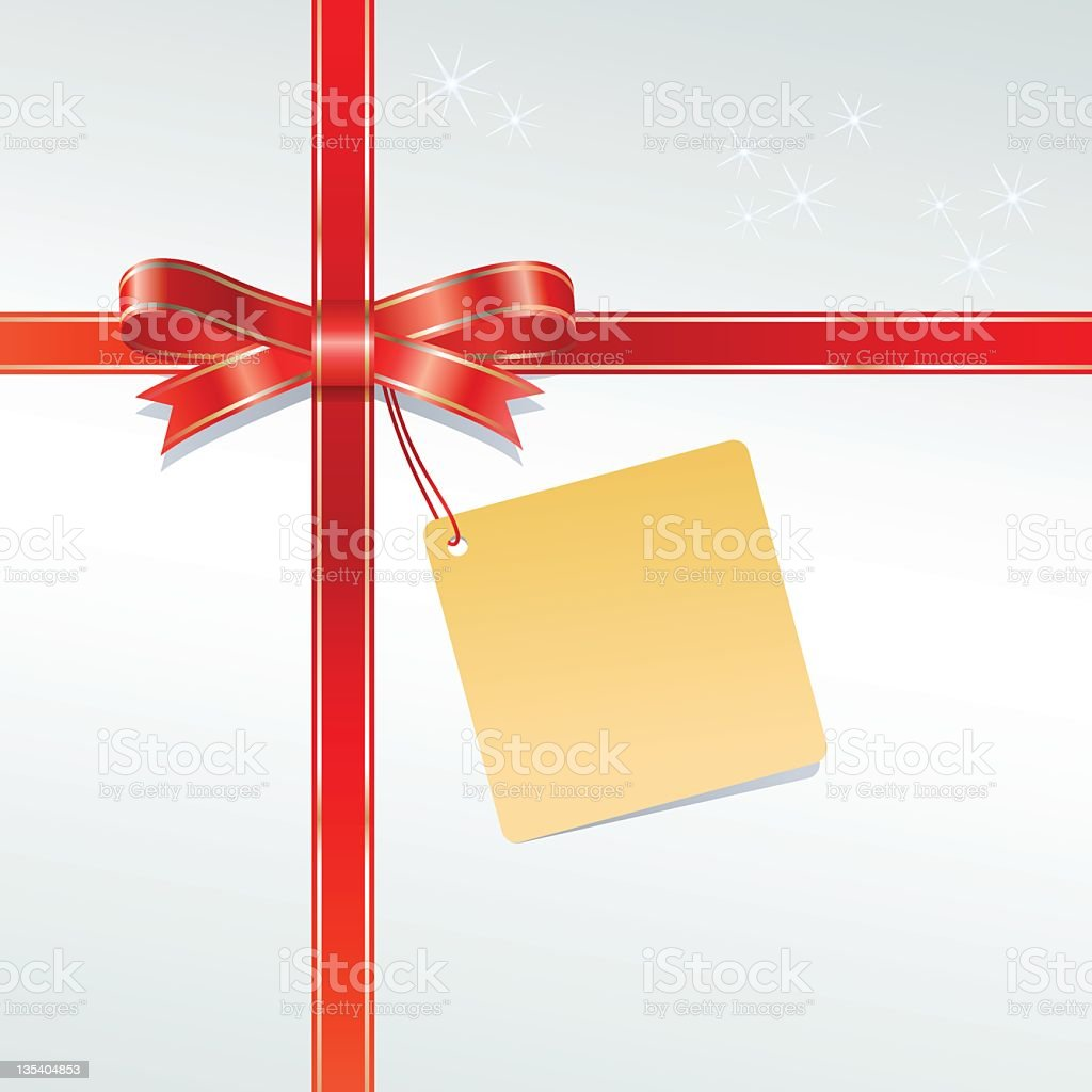 Red gift wrapping ribbon around a box with a yellow tag royalty-free stock vector art