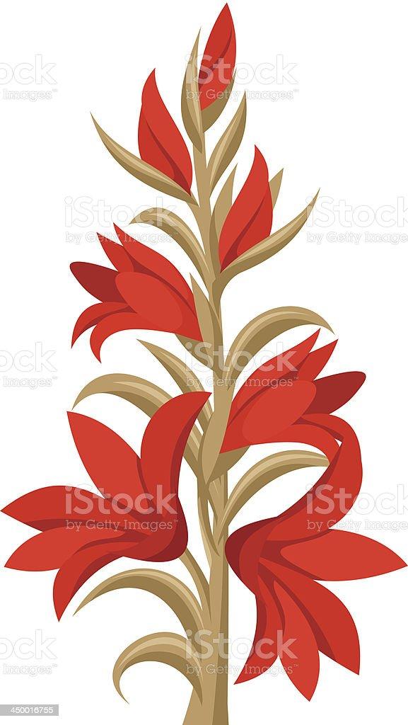 Red gladiolus flowers. Vector illustration. vector art illustration