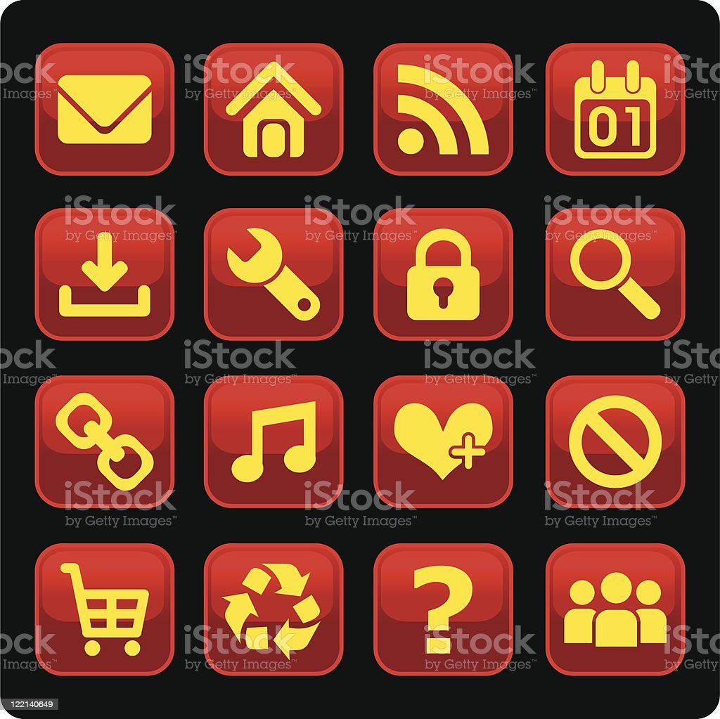 red glossy web icons royalty-free stock vector art