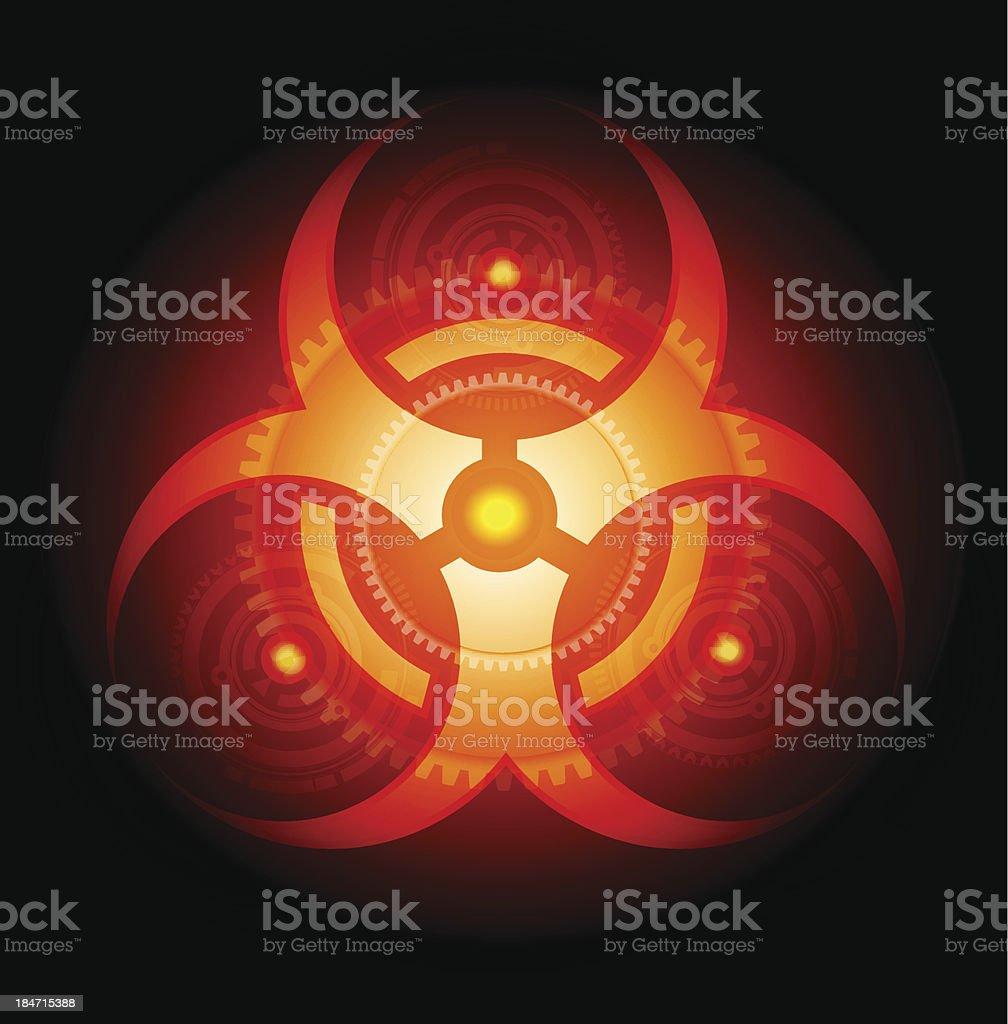 Red Glowing Biohazard Sign vector royalty-free stock vector art