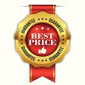 Red gold best price badge with ribbon