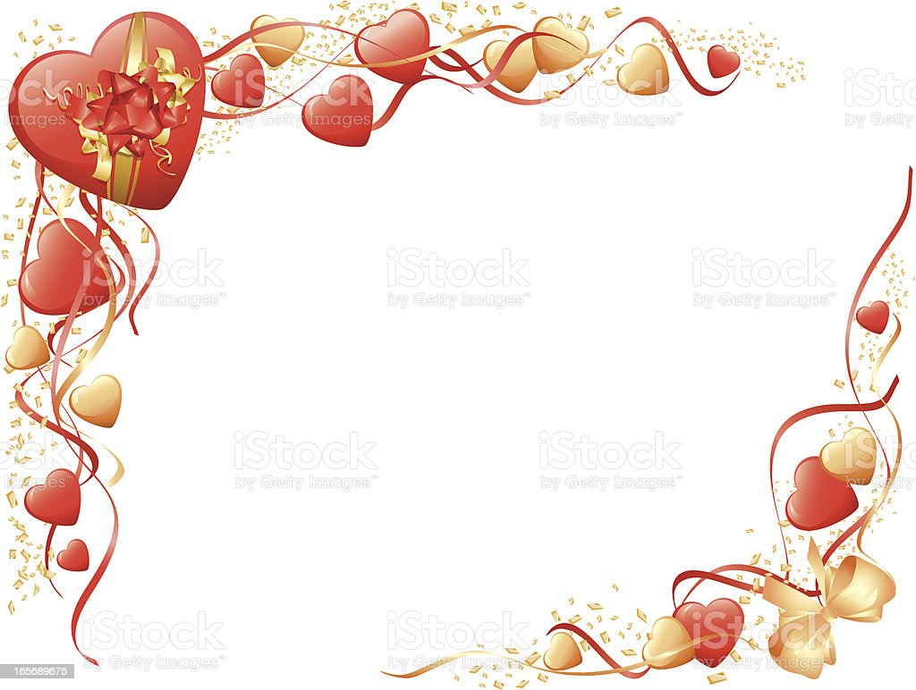 Red Gold Bows and Hearts Valentines Corners Horizontal royalty-free stock vector art