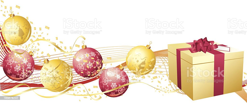 Red Gold Christmas Bauble and Present Banner royalty-free stock vector art
