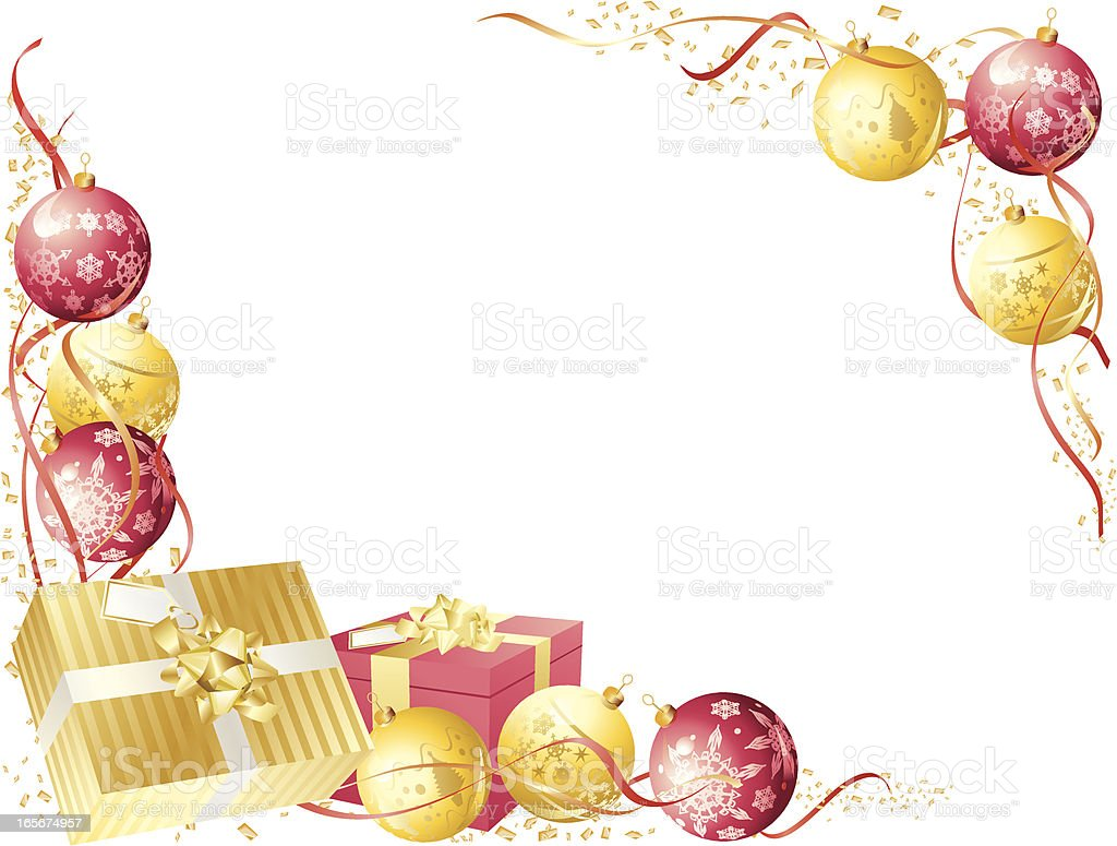 Red Gold Christmas Present Bauble Horizontal Frame royalty-free stock vector art