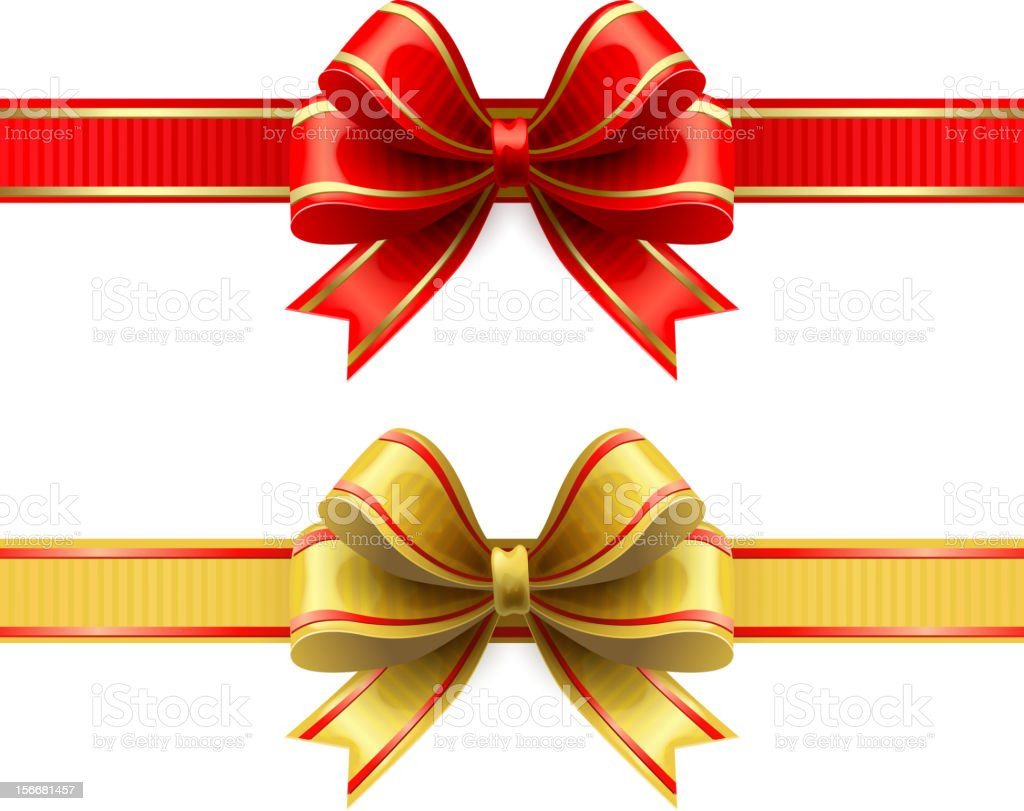 red gold ribbon and bow stock vector art 156681457 istock