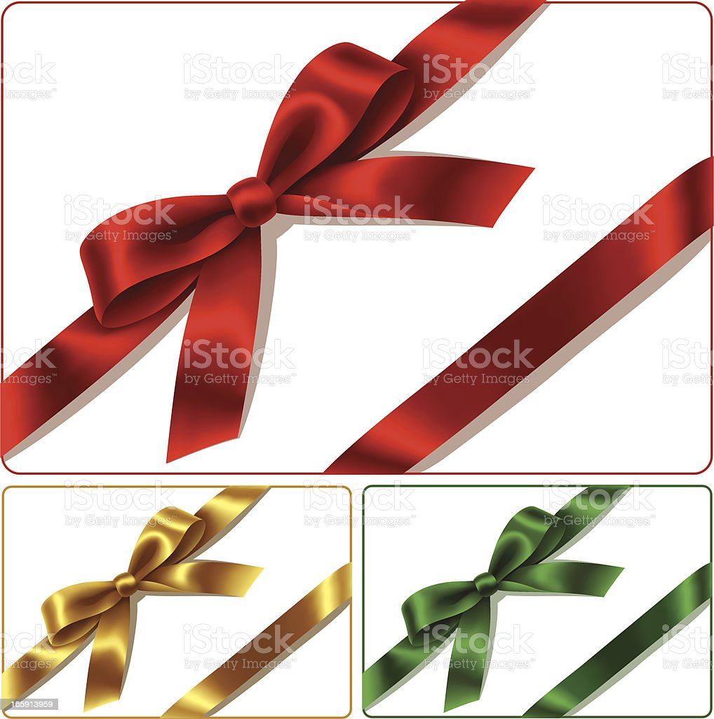 Red golden and green bows isolated on white background vector art illustration