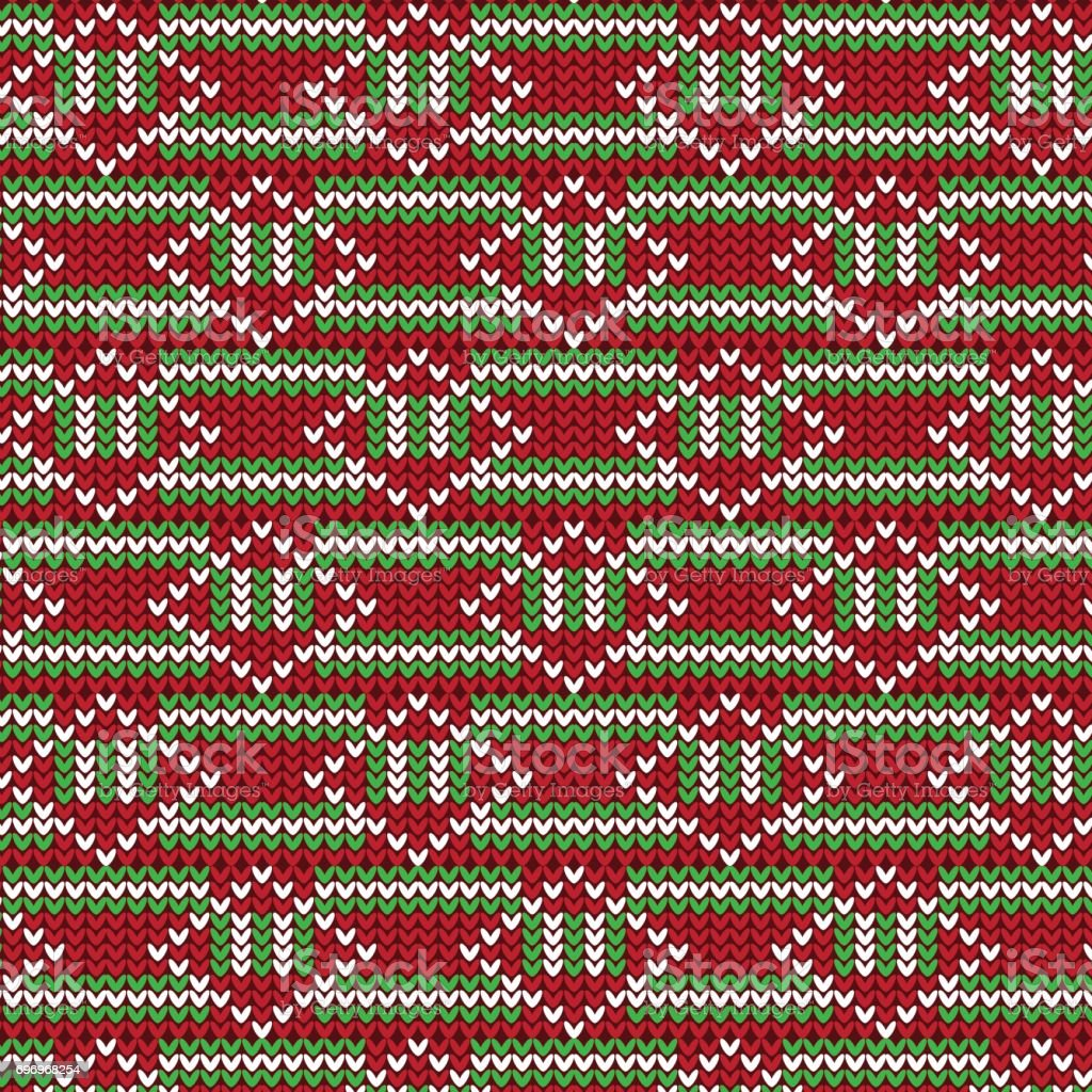 red green and white striped with white diamond shape knitting pattern background vector art illustration