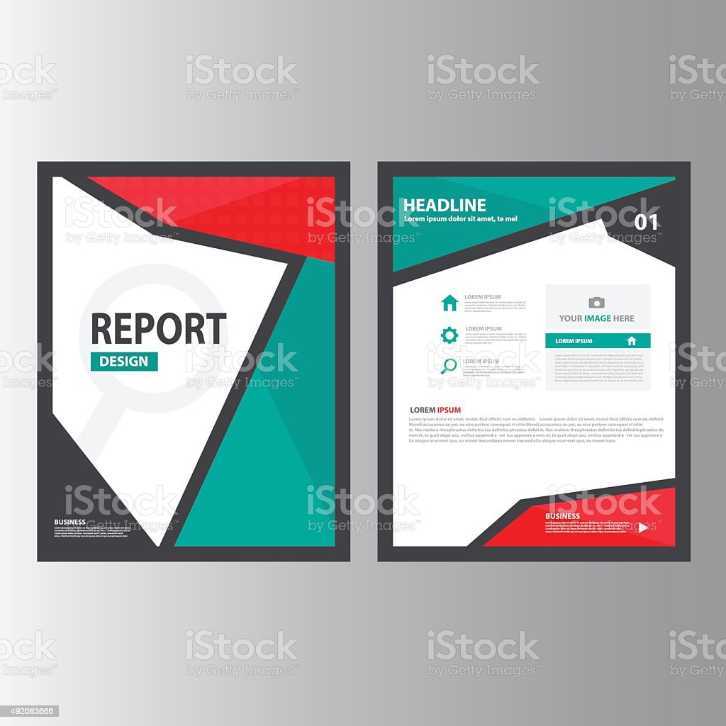 red green annual report brochure flyer flat marketing advertising 1 credit
