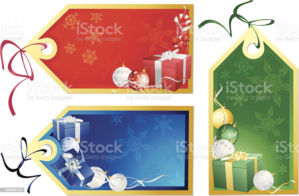 Red Green Blue Christmas  Present BaubleTags royalty-free stock vector art