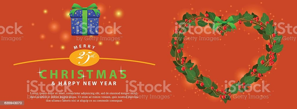 Red Green Wreath Bouquet heart ornament for christmas event banner vector art illustration
