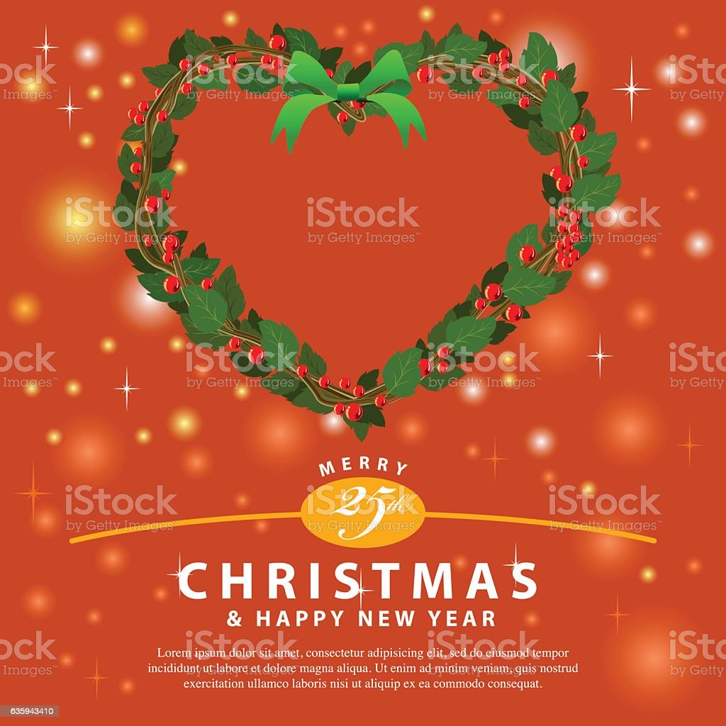 Red Green Wreath Bouquet heart ornament for christmas event01 vector art illustration