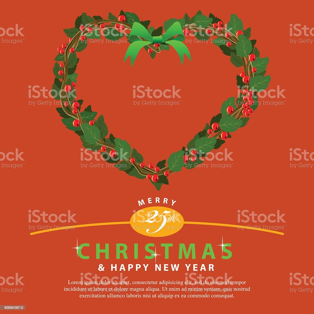 Red Green Wreath Bouquet heart ornament for christmas event02 vector art illustration