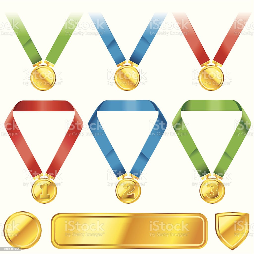 Red, Green,Blue Medals royalty-free stock vector art