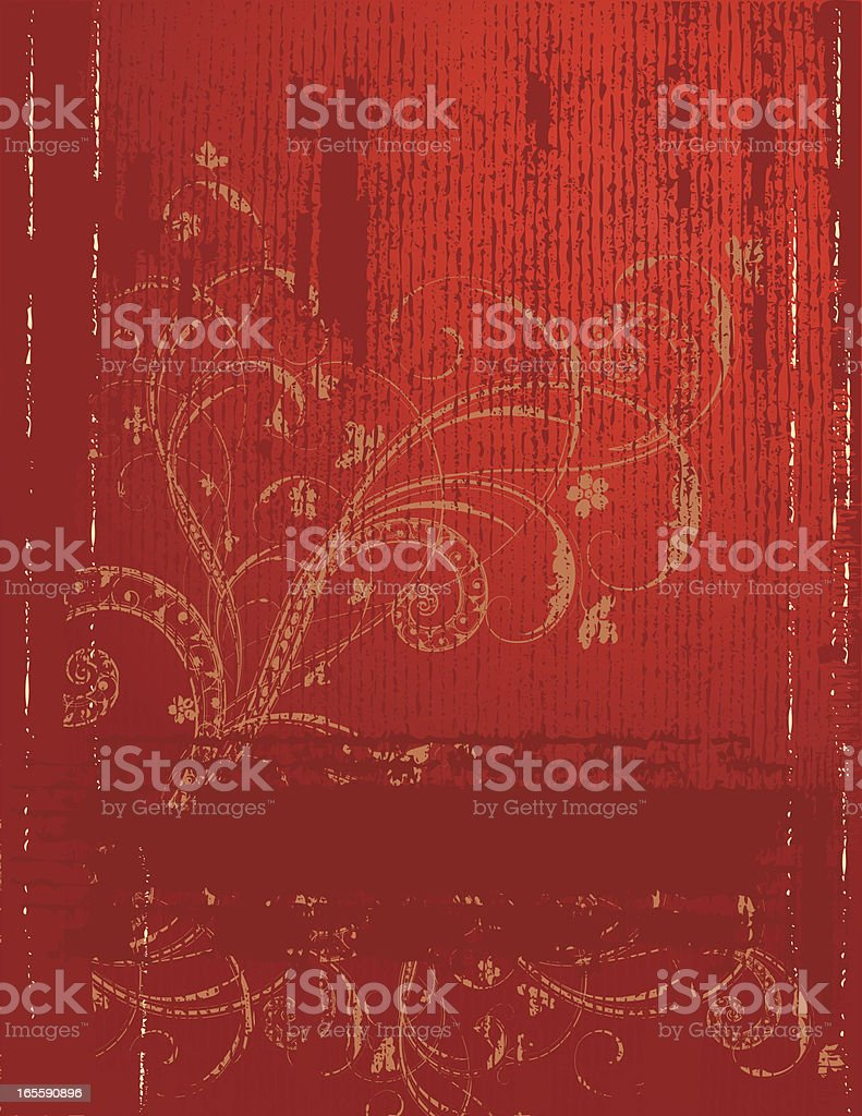 Red Grunge and Scroll royalty-free stock vector art