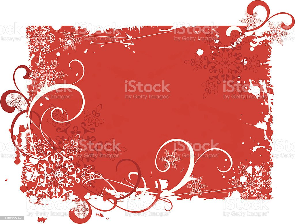 red grunge christmas background with snowflakes royalty-free stock vector art