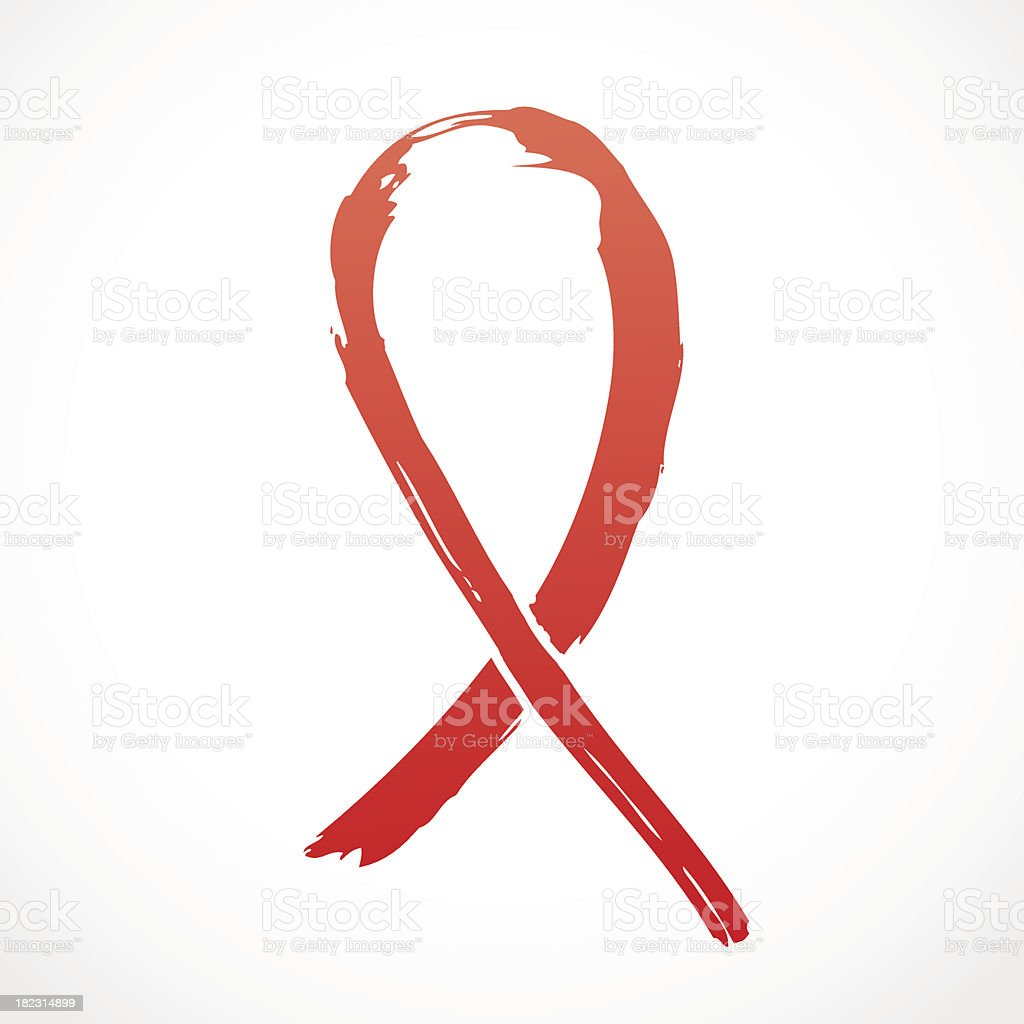 Red grunge Support Ribbon royalty-free stock vector art