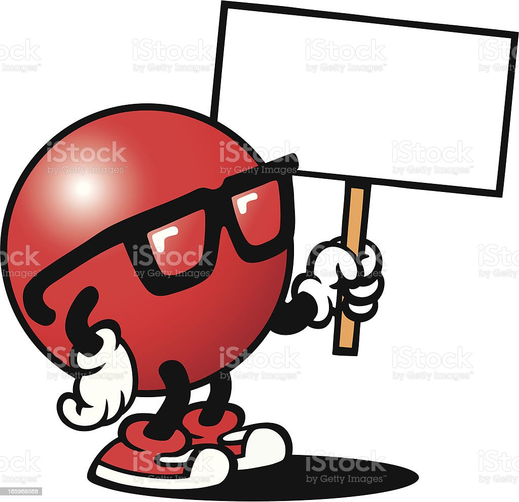 Red Guy with Sign royalty-free stock vector art