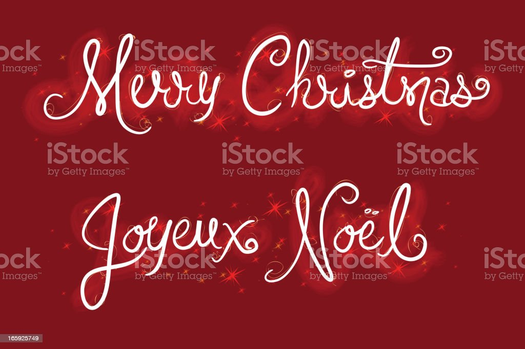 Red  Hand drawn Merry Christmas and Joyeux Noel script vector art illustration