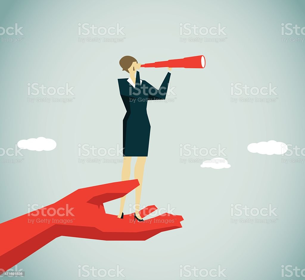 A red hand holding a small woman looking through telescope vector art illustration