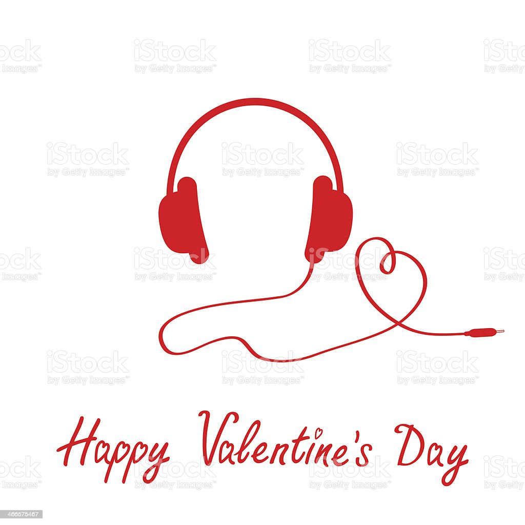 Red headphones and cord in shape of heart.  White background. royalty-free stock vector art
