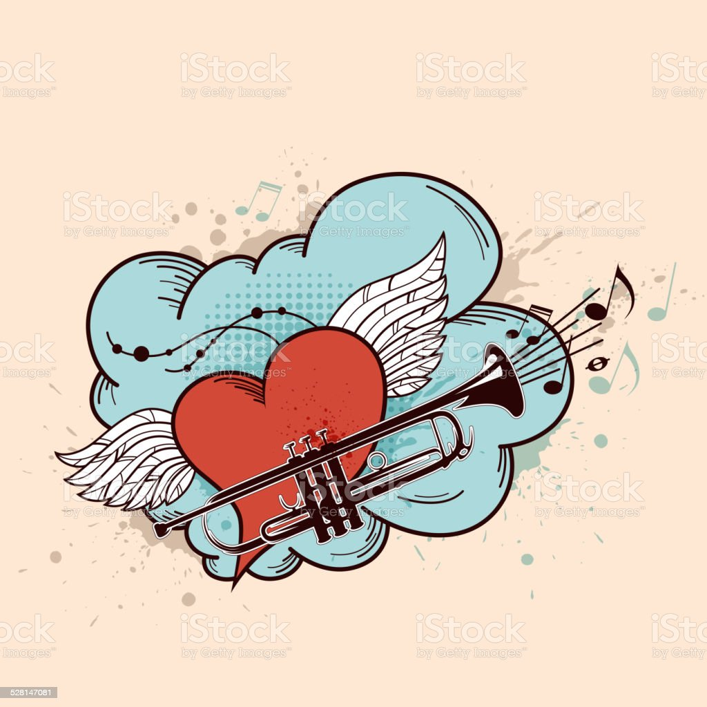 Red heart and trumpet vector art illustration