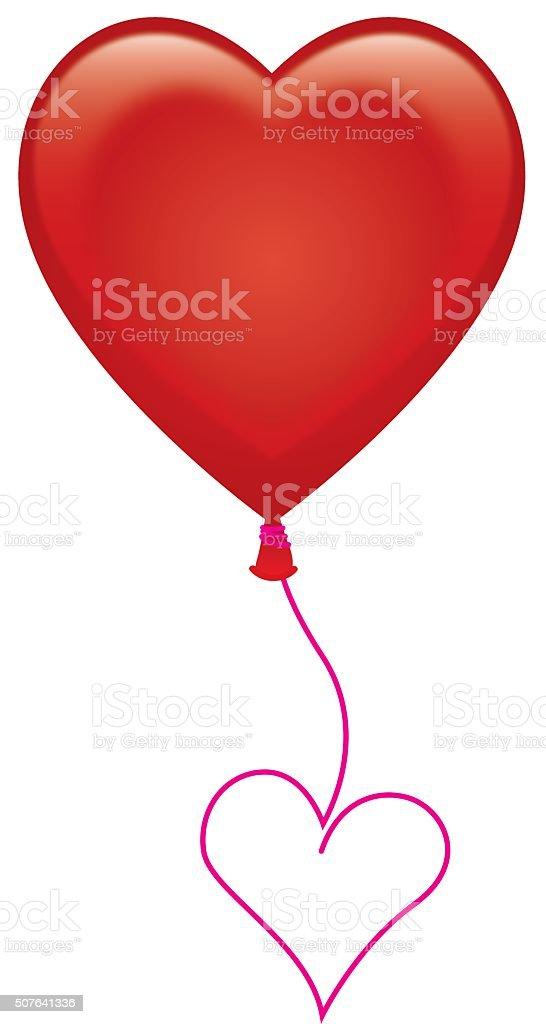 Red Heart Balloon vector art illustration