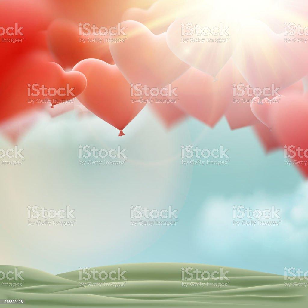 Red heart balloons flying bunch. EPS 10 vector art illustration