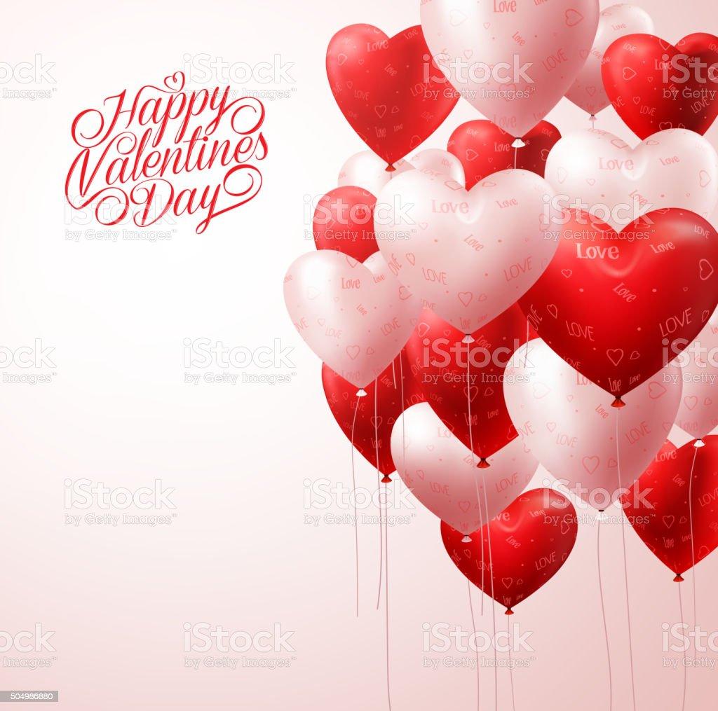 Red Heart Balloons Flying in Light for Valentines Background vector art illustration