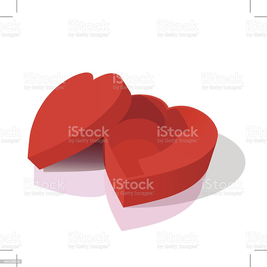 red heart box vector art illustration