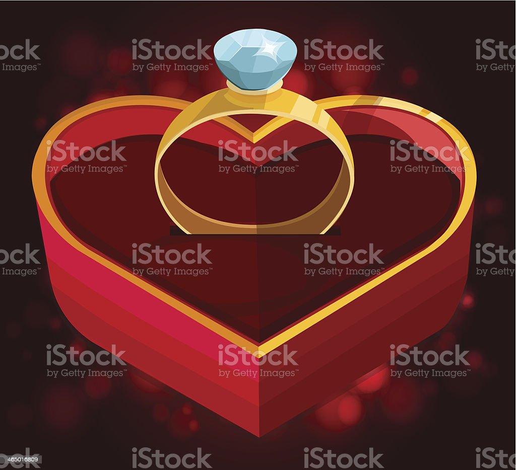 Красное сердце box с кольцом векторная иллюстрация