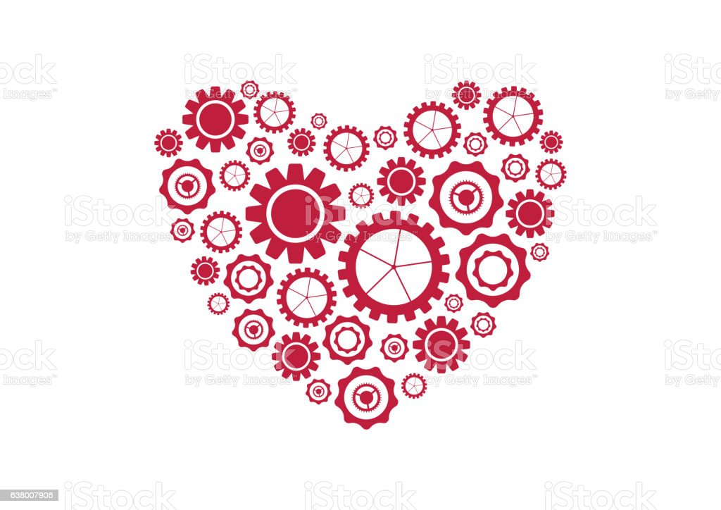 Red heart from tech gears vector background vector art illustration