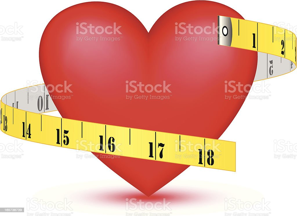 Red heart graphic with tape measure, vector royalty-free stock vector art