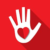 Red Heart Hand Icon