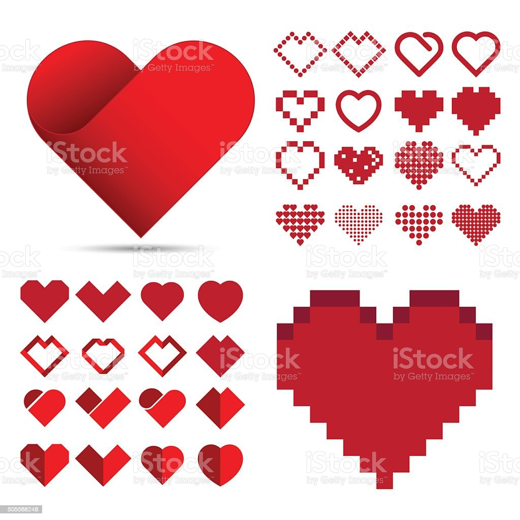 Red heart icon set . Illustration eps10 vector art illustration
